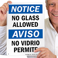 No Glass Allowed Bilingual Sign