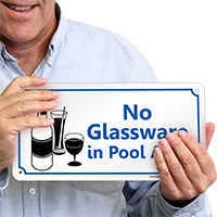 No Glassware in Pool Area Sign