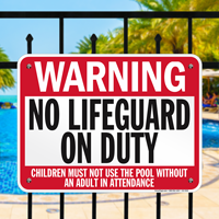 No Lifeguard On Duty Minnesota Pool Sign