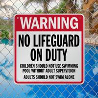 North Carolina No Lifeguard On Duty Sign
