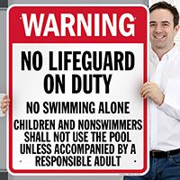 Pennsylvania No Lifeguard On Duty Sign