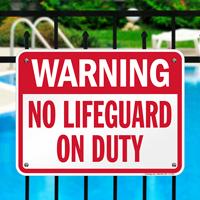 No Lifeguard On Duty Pool Sign