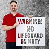 Warning! No Lifeguard On Duty Floor Stencil