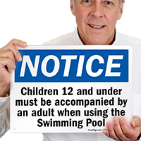 Notice Children Swimming Pool Sign