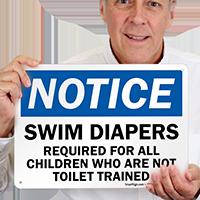 Notice Swim Diapers Required Sign