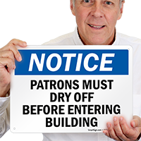 Notice, Patron Must Dry Off Pool Sign