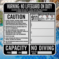 Pool Warning No Lifeguard On Duty Sign