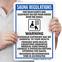 Sauna Regulations, Warning Message Sign