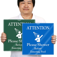 Please, Shower Before Entering Pool ShowCase Wall Sign