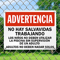 Spanish No Lifeguard, Dont Swim Alone Sign