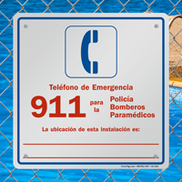 Spanish Pool Area Emergency Phone Number Sign