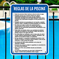 Spanish Pool Area Rules Sign