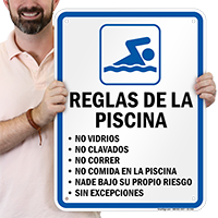 Spanish Pool Rules, No Diving Sign