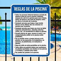 Spanish Pool Rules, Shower Before Entering Sign