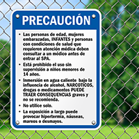 California Spanish Spa Safety Rules Sign