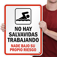 Spanish No Lifeguard on Duty Sign