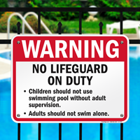 No Lifeguard On Duty Sign for Minnesota