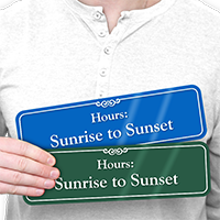 Sunrise To Sunset Pool Hours ShowCase Wall Sign