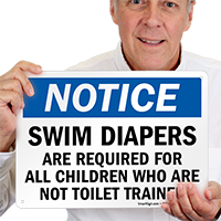 Swim Diapers Required for Children Sign
