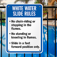 White Water Slide Rules Sign