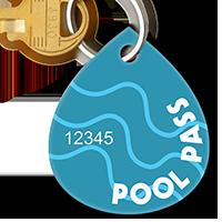 Pool Passes In Water Drop Shape, Blue Swirls