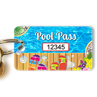 Pool Pass In Rectangular Shape, Colorful Flip Flops