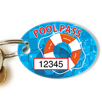 Pool Pass In Oval Shape, Lifesaver Print