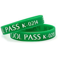 Kids Silicone Wristband Green Pool Pass
