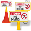 Attention No Diving ConeBoss Pool Sign