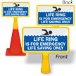 Life Ring Is For Emergency ConeBoss Pool Sign