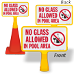 No Glass Allowed In Pool Area ConeBoss Pool Sign