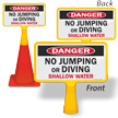 No Jumping Or Diving Shallow water ConeBoss Pool Sign