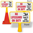 No Lifeguard On Duty ConeBoss Pool Sign