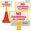 No Swimming Allowed ConeBoss Pool Sign
