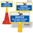 Notice No Floats In Pool Or Pool Area ConeBoss Pool Sign