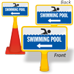 Swimming Pool With Left Arrow ConeBoss Pool Sign