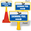 Swimming Pool With Right Arrow ConeBoss Pool Sign