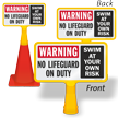 Warning No Lifeguard On Duty ConeBoss Pool Sign