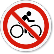No Bike Riding Symbol ISO Prohibition Circular Sign