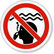 No Long Water Breath Holding ISO Prohibition Sign