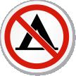 No Camping Symbol ISO Prohibition Circular Sign