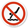 No Diving Symbol ISO Prohibition Circular Sign