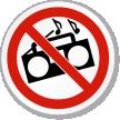 No Loud Music Symbol ISO Prohibition Circular Sign