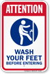 Attention Wash Your Feet Pool Sign