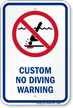 Customizable No Diving Warning Sign with Graphic
