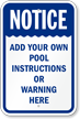 Custom Pool Instructions And Warning Notice Sign