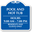 Custom Pool Timings, Residents and Guests Only Sign
