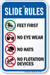 Feet First Slide Rules Sign