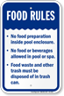 Food Rules Pool Safety Sign