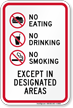 No Eating No Drinking No Smoking Sign